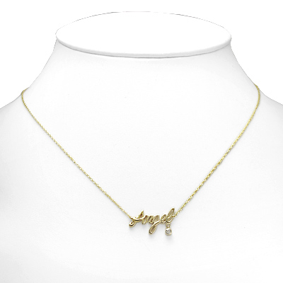 14k Yellow Gold Angel Name Diamodn Necklace