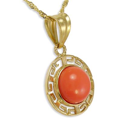 Anzor jewelry 14k yellow gold coral greek key pendant 14k yellow gold coral pendant mozeypictures Gallery