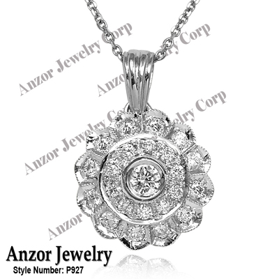 Russian Style Diamond Necklace and Pendant 585 14k