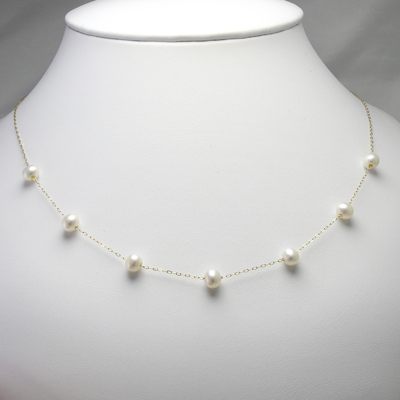 14k Gold Pearl Necklace 18""
