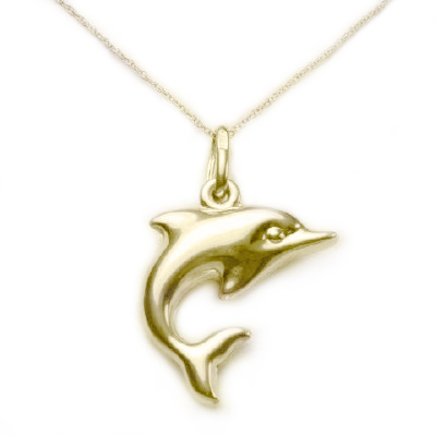 Anzor jewelry 14k gold playful dolphin pendantbr get 10 off 14k dolphin pendant on chain aloadofball Gallery