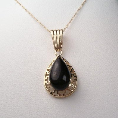 Anzor Jewelry - 14k Solid Gold Pear Cut Onyx Greek key