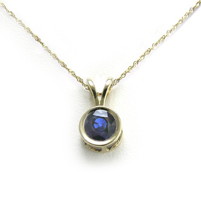 Anzor jewelry 14k gold man made sapphire pendant for Man made sapphire jewelry