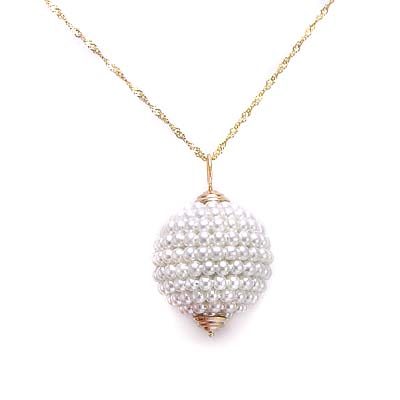 Anzor jewelry 14k yellow gold white caviar pearl cluster bead 14k gold pearl pendant aloadofball Images