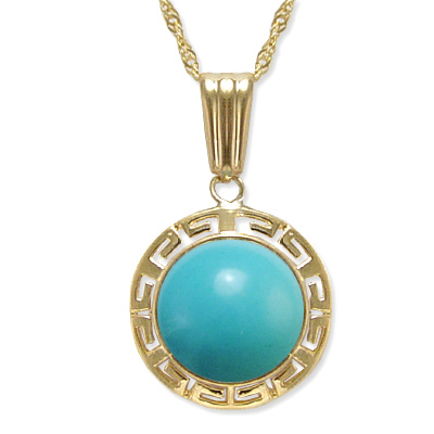 14k Yellow Gold Turquoise Necklace