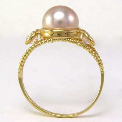 14k Solid Yellow Gold Lavender Pearl /& CZ Ring $299.00  #R1047