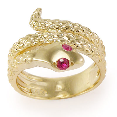 14k Twisted Serpent Ruby Ring