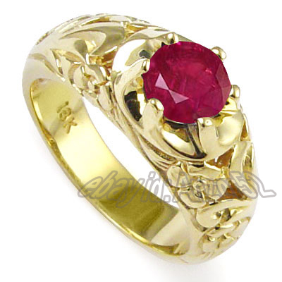 Anzor Jewelry - 1 50 cwt Men's 18k Yellow Gold & Natural Ruby Ring