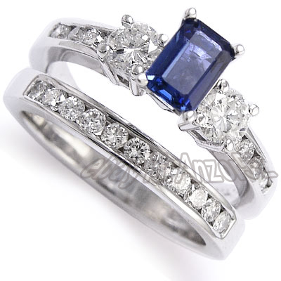 Diamond Sapphire Engagement Ring Wedding Band Set 14k White Gold