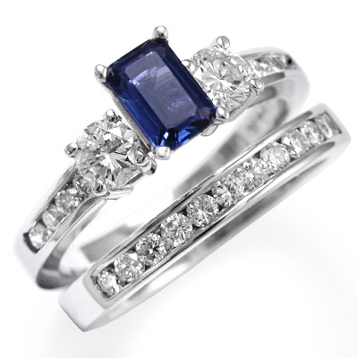 Anzor Jewelry 14k White Gold Sapphire Diamond Engagement Ring