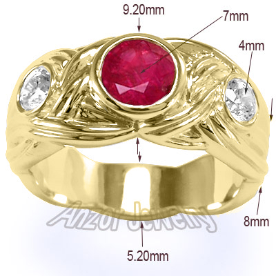 Men's 18k Gold Ruby & Diamond Men's Ring