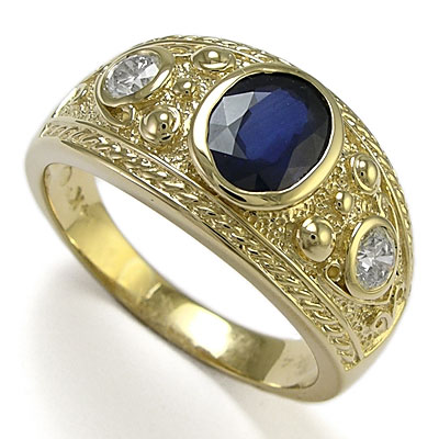 18K Yellow Gold Sapphire Ring Natural Blue Sapphire Ring Men Sapphire Gold Ring