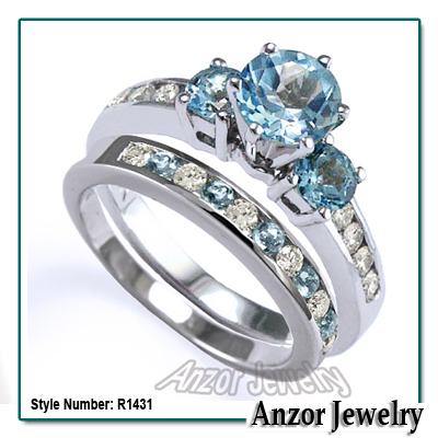 Charmant 14k Gold Blue Topaz Diamond Engagement Ring Set