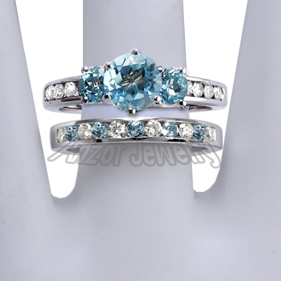 ... 14k Gold Blue Topaz Diamond Engagement Ring Set