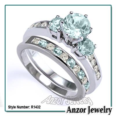 14k Gold Aquamarine Diamond Engagement Ring Set