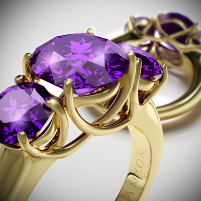 Siberian amethyst three stone ring 14k gold