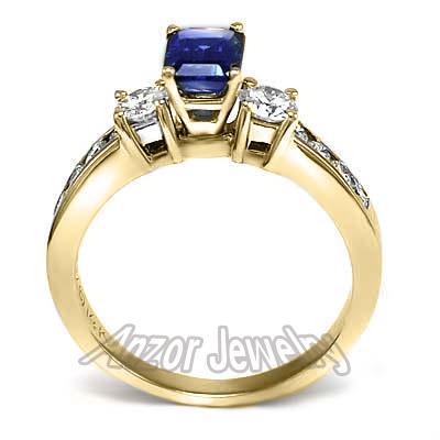 anzor jewelry   14k yellow gold 1 25ct sapphire diamond