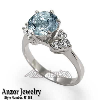 950 Platinum Aquamarine & Diamond Ring