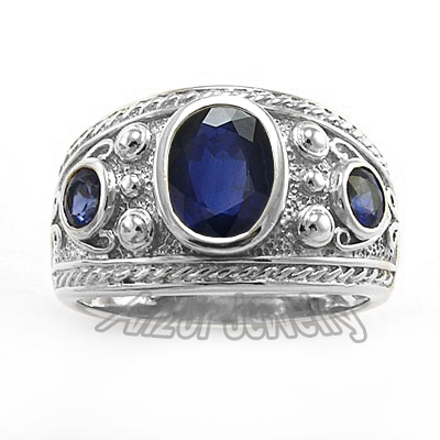 18k Gold Genuine Ceylon Sapphire Men's Ring