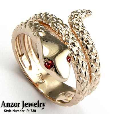men 39 s snake serpent rhodolite garnet ring solid 14k rose. Black Bedroom Furniture Sets. Home Design Ideas