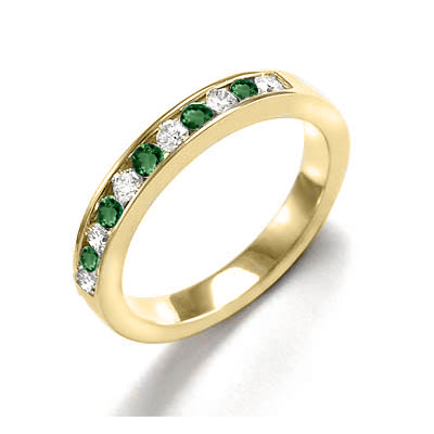 14k Gold Russian Chrome Diopside Diamond Band
