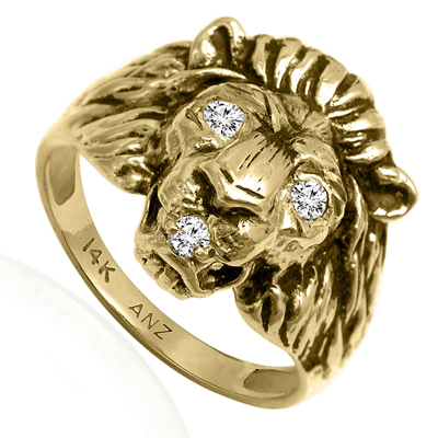 Anzor Jewelry Men S Ring 14k Yellow Gold Lion Diamond