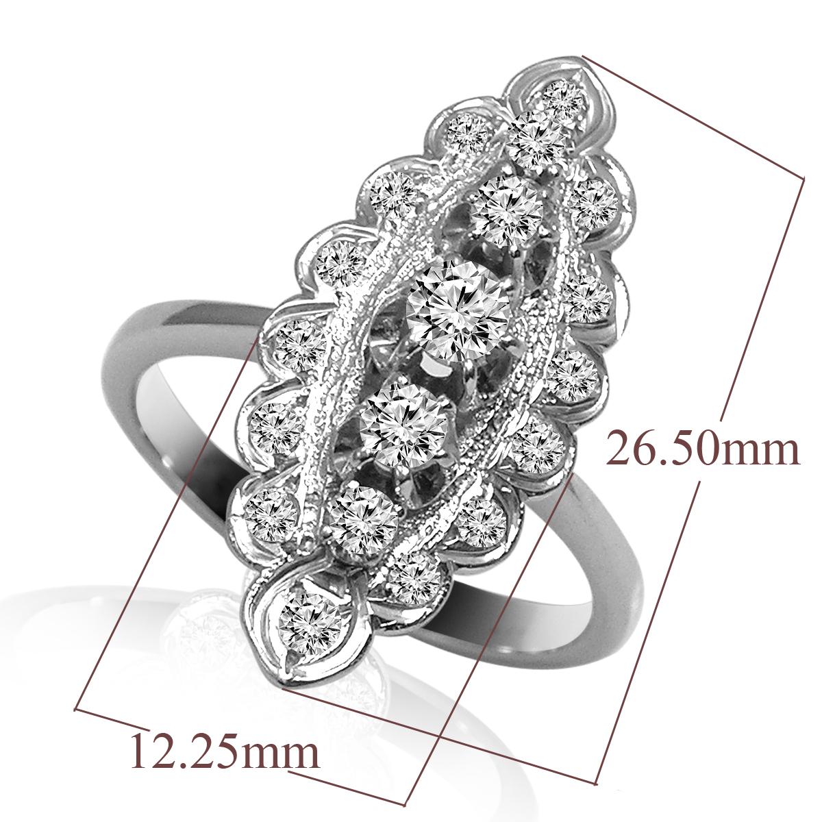 14K White Gold Diamond Russian style Ring