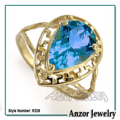 14K Gold Blue Topaz Ring