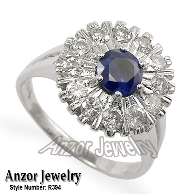 Sapphire and Diamond ring Russian design 14k