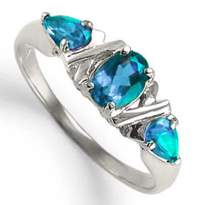 Mother's ring 14k Gold Three Stone Blue Topaz