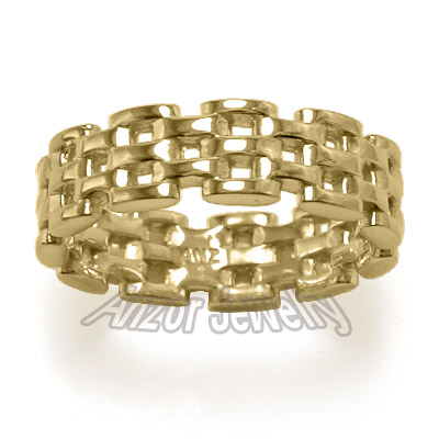 14k Gold Panther Link Band Ring by Anzor