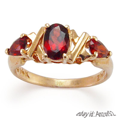 Genuine Garnet 3-Stone Ring 14k Gold