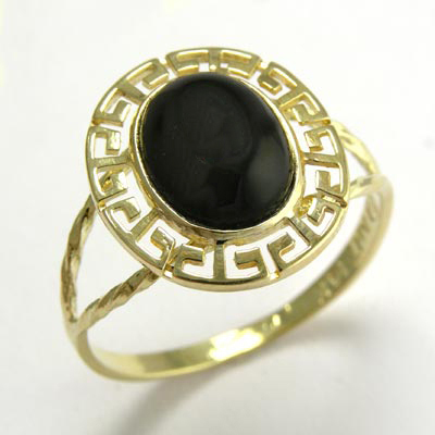Anzor Jewelry - 14k Gold Greek Key Black Onyx Oval Ring 8mm