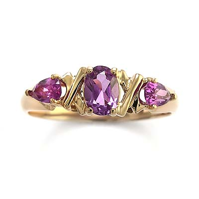 14k Rose Gold Created Alexandrite Mother's ring