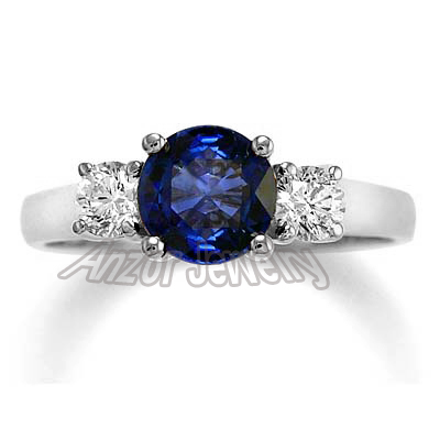 1.30ct Ceylon Sapphire Diamond Ring in 14k Gold