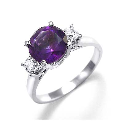 diamond and stones princess side amethyst with engagement pl uk cut three ring rings stone
