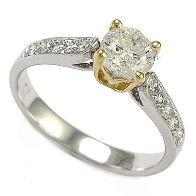 anzor jewelry 18k two tone white gold solitaire