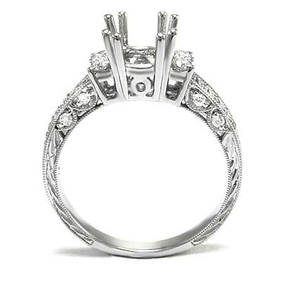 14k White Gold Diamond Ring Pave Setting Mounting