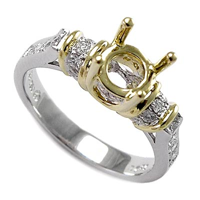18k two tone gold engagement ring semi mount ring