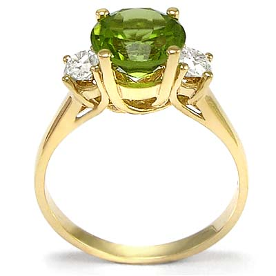 Peridot and Diamond Ring in 14k Gold