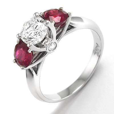 c2d184ac732ab Anzor Jewelry - 14k White Gold Diamond Three-Stone Ruby Engagement ...