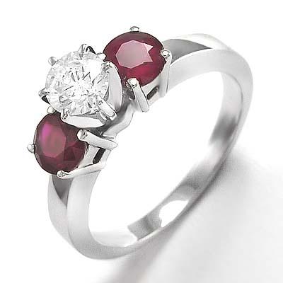 Anzor Jewelry 14k White Gold Diamond Three Stone Ruby Engagement Ring