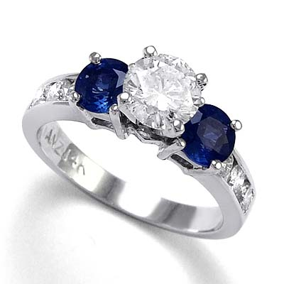 ring diamond in sapphire white a engagement timeless gold stone