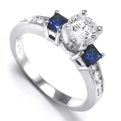 Sapphire Engagement Ring on Sapphire Round Or Princess Cut  Diamond Engagement Ring This Ring
