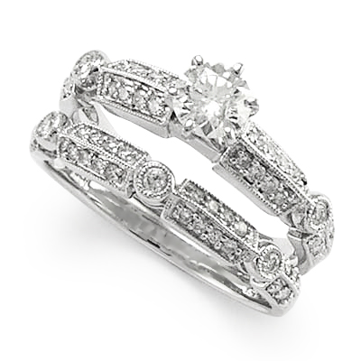 18k White Gold Diamond Engagement Ring Wedding Band Bridal Set