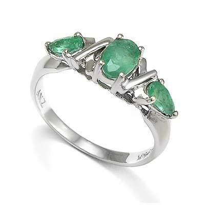 anzor jewelry s three emerald ring in 14k