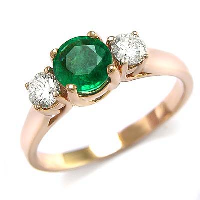 14k Rose Gold Genuine Colombian Emerald & Diamond Engagement Ring