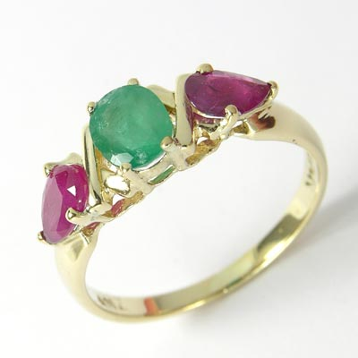 Three-Stone Emerald Ruby Ring 14k gold