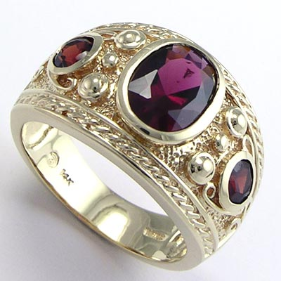 Men's genuine garnet ring 14k solid gold