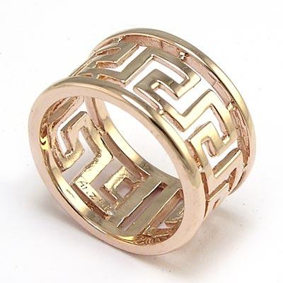 Anzor Jewelry Men S 14k Rose Gold Band Greek Key Ring